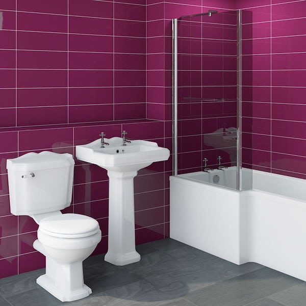 Winchester bathroom suite with left handed Boston L shaped shower bath 1700 x 850