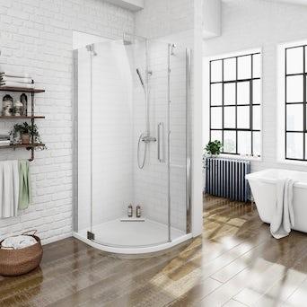 8mm Frameless Quadrant Hinged Shower Enclosure 900 LH