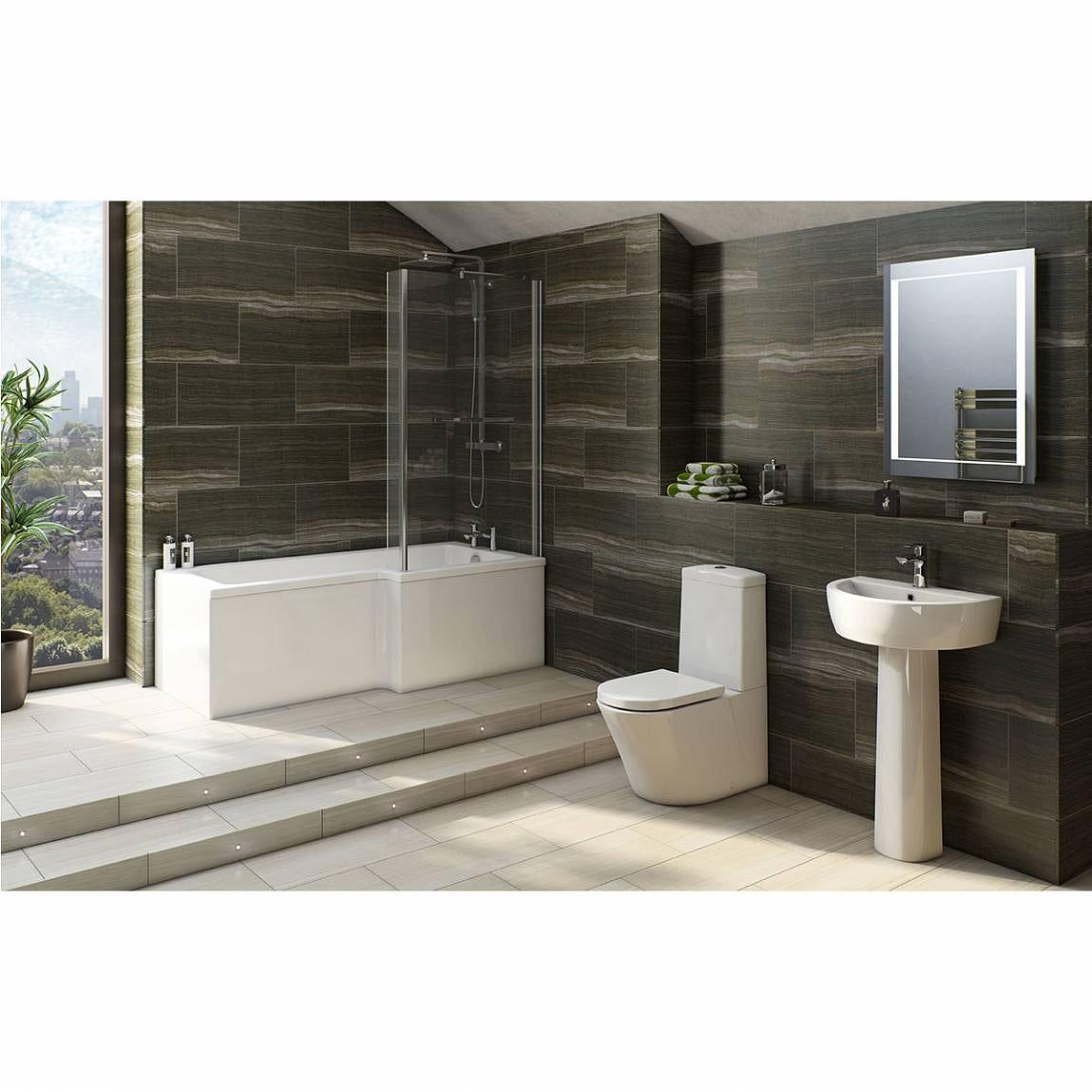 Arte Bathroom Suite with Boston 1700 x 850 Shower Bath RH
