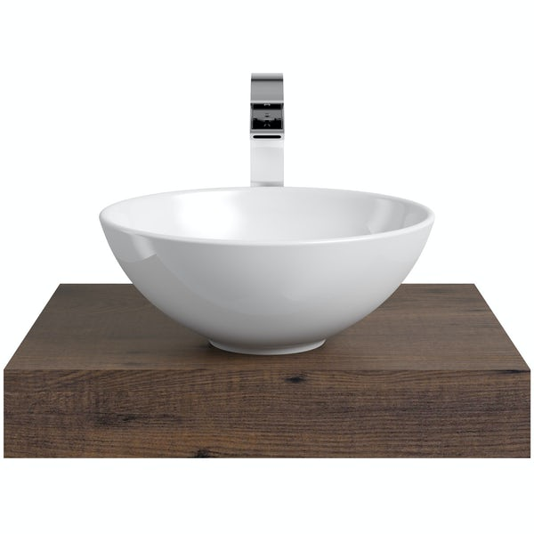Mode Orion chestnut countertop shelf with Derwent basin, tap and waste
