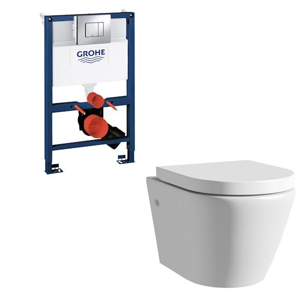 ModeHarrisonrimless wall hung toilet, Grohe frame and Skate Cosmopolitan push plate 0.82m