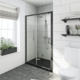 Mode premium black 6mm sliding shower door with right handed black tray 1200 x 800