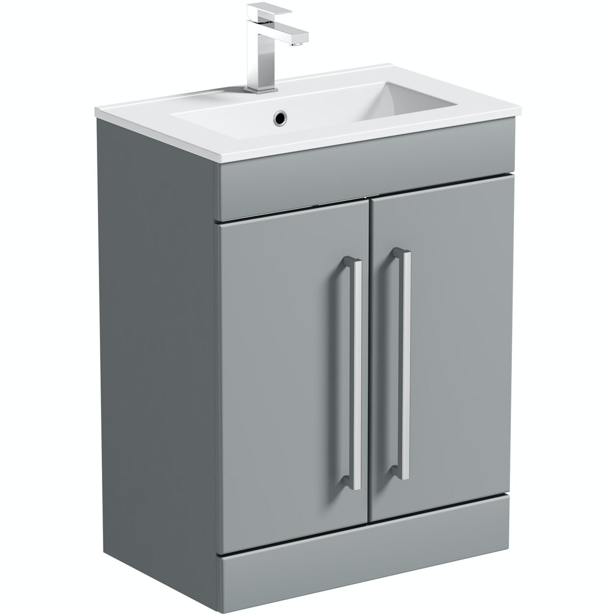 Orchard Derwent stone grey vanity door unit and basin 600mm