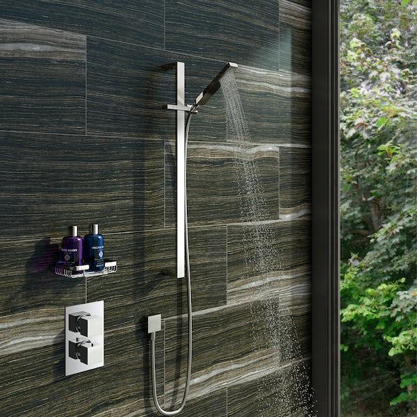 Mode Ellis thermostatic twin shower valve and riser rail set