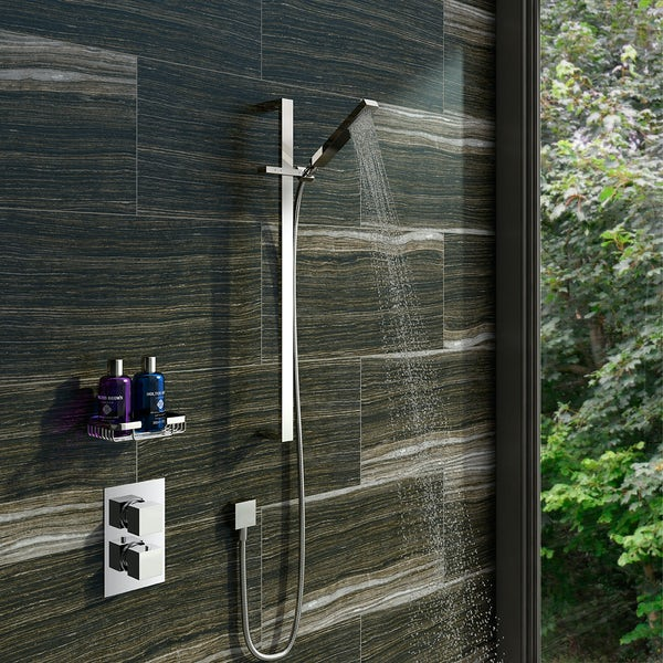Mode Ellis thermostatic twin shower valve and riser rail set