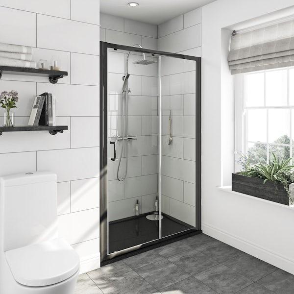 Mode premium black 6mm sliding shower door with left handed black tray 1200 x 800