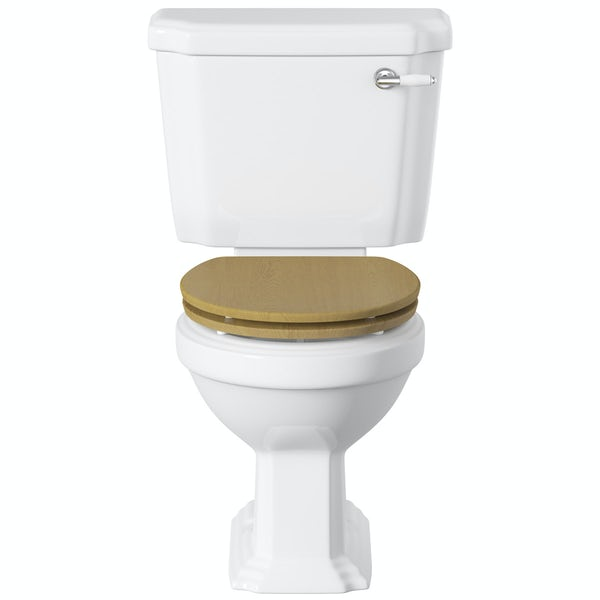 Dulwich close coupled toilet with wooden toilet seat oak effect