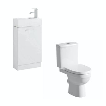 Compact White Furniture Unit with Energy Toilet