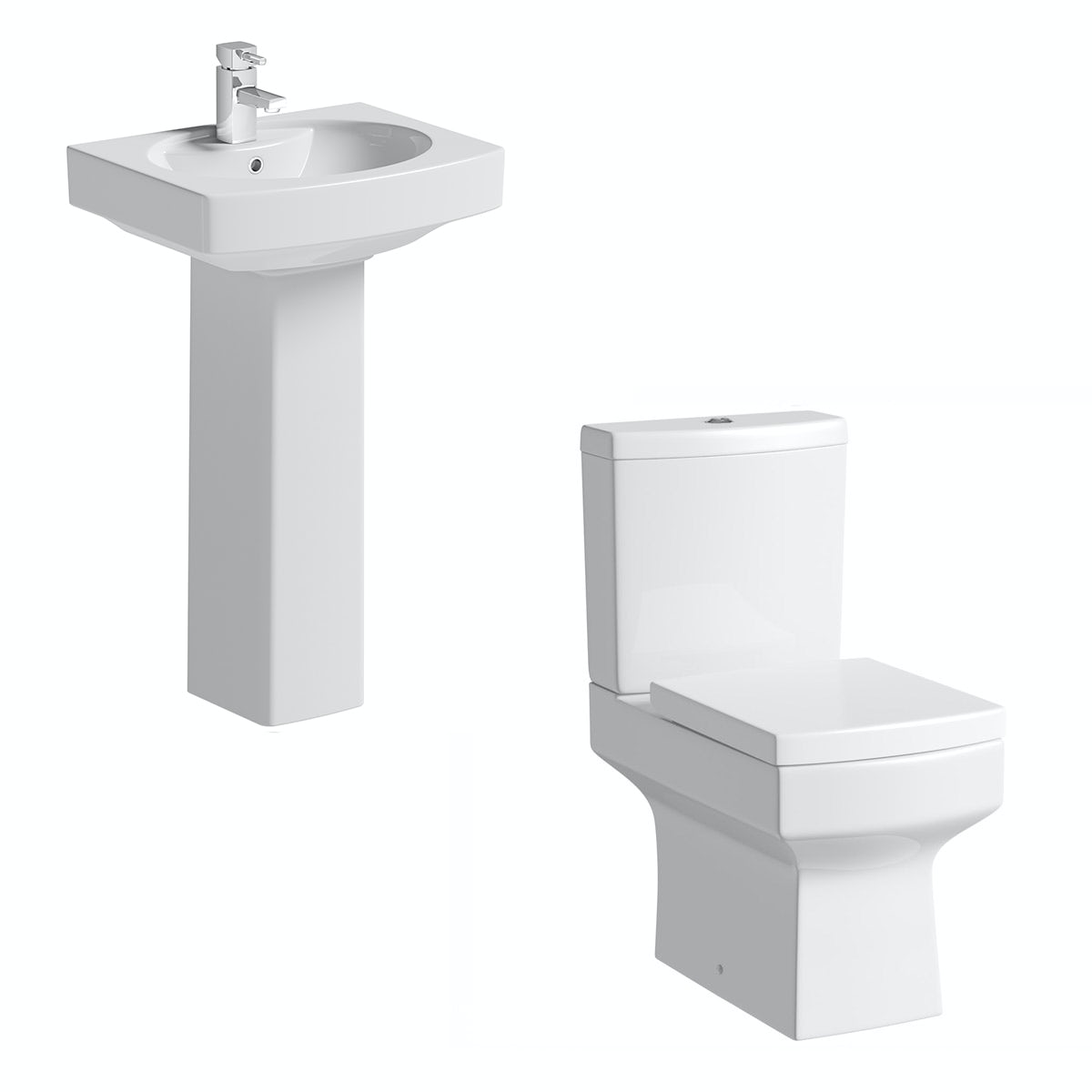 Orchard Wye cloakroom suite with full pedestal basin 555mm