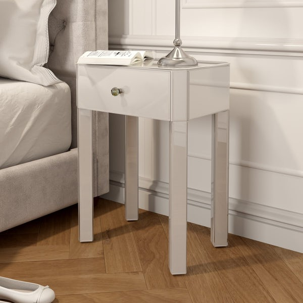 Paris White Glass 1 Drawer Bedside