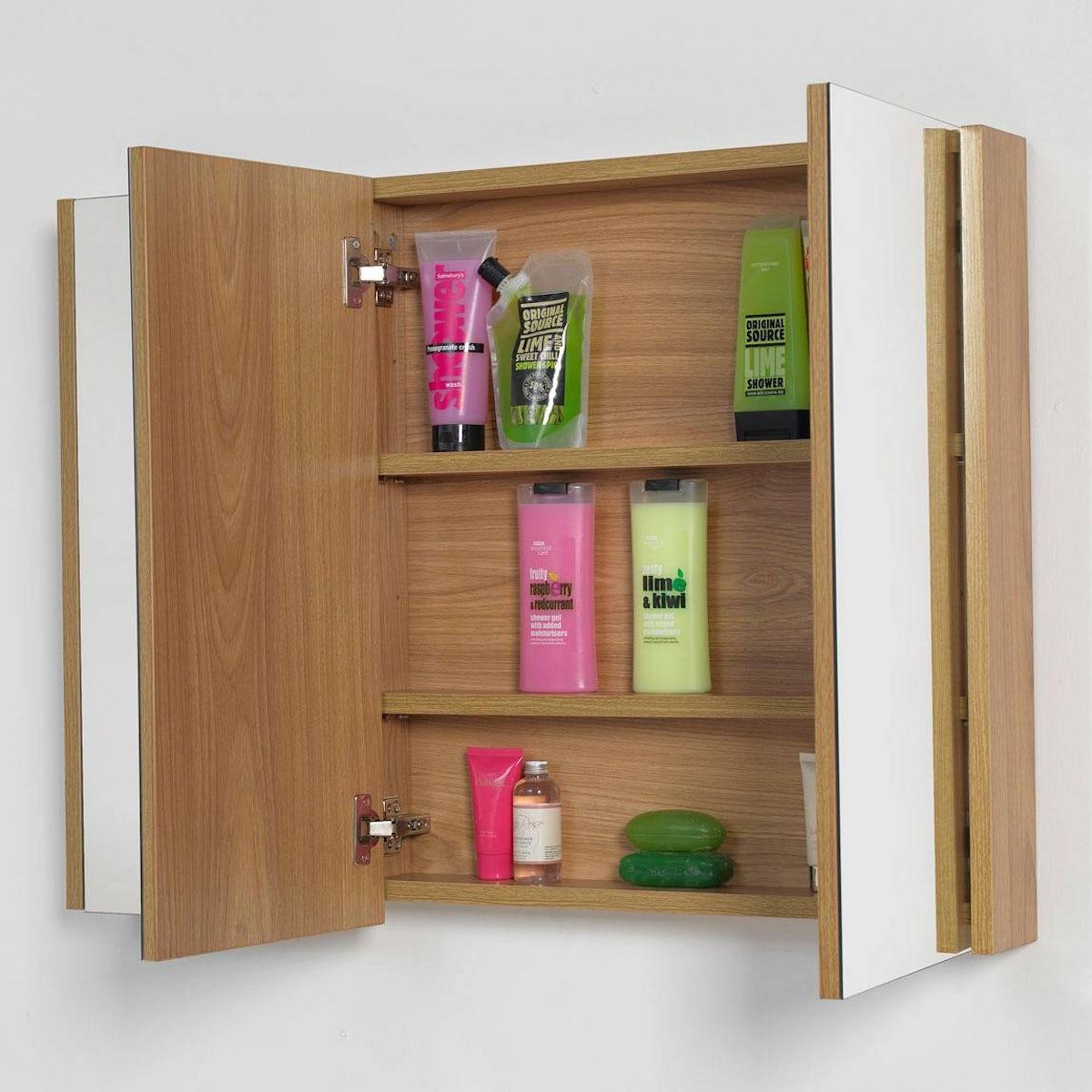 Odessa Oak 3 Door Bathroom Mirror Cabinet | VictoriaPlum.com