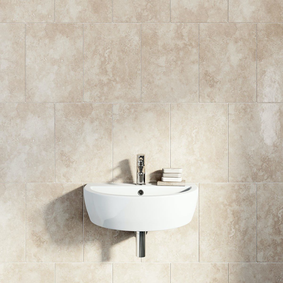 beige gloss earth tile with basin