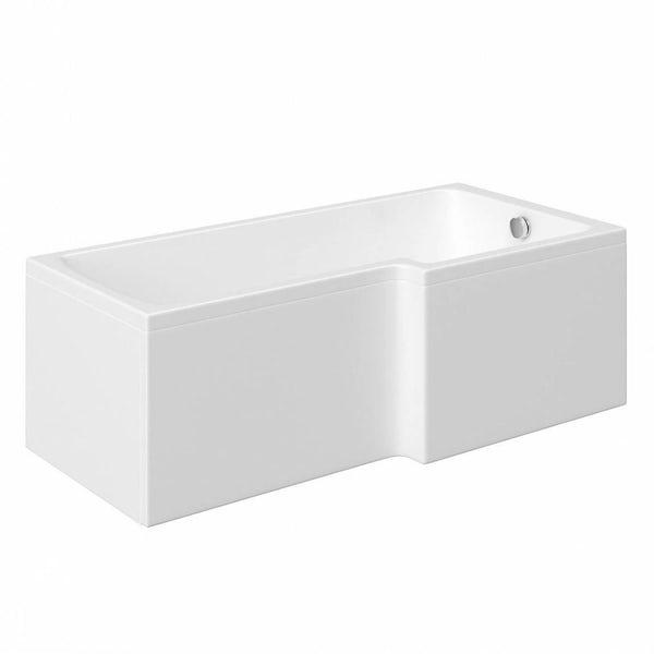 Mode Ellis right hand shower bath 1700 x 850 suite with Ellis white floor drawer unit