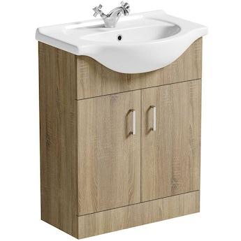 Sienna oak vanity unit and basin 650mm