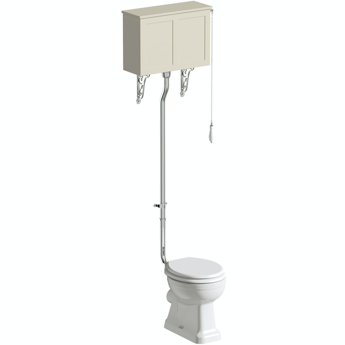 The Bath Co. Camberley high level toilet with satin ivory toilet box and seat