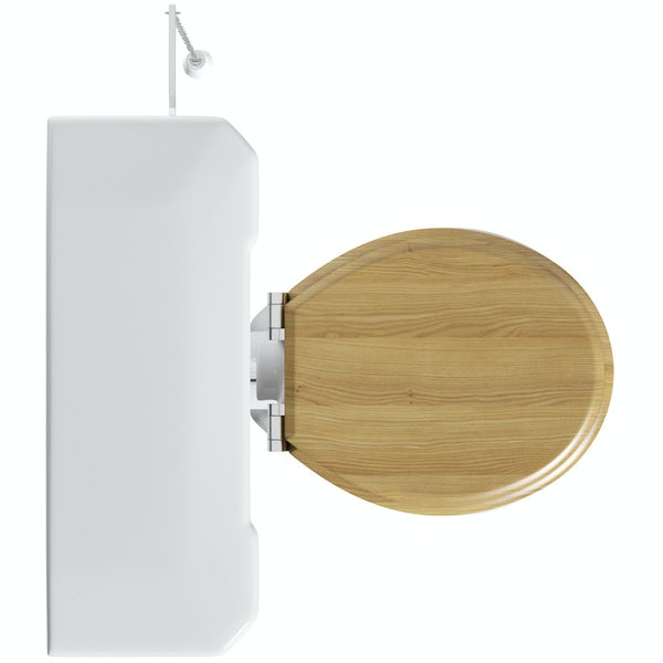 The Bath Co. Camberley high level toilet with wooden soft close seat oak effect with pan connector