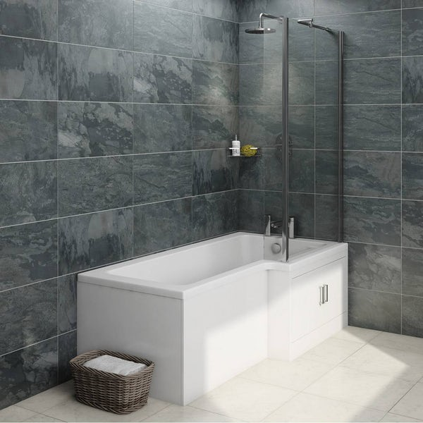 MySpace Water Saving L Shape Shower Bath Right Hand with Storage Panel & 6mm Screen
