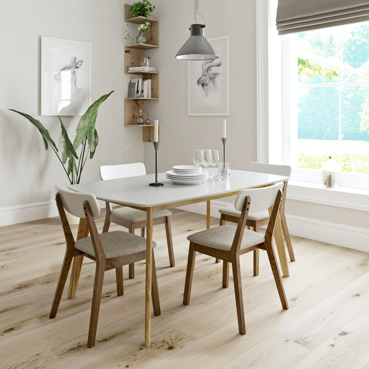Archer dining table with 4 x Archer dining chairs