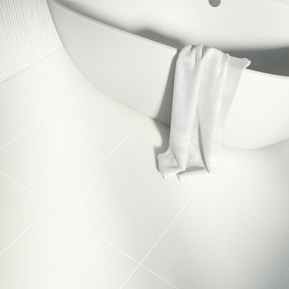 British Ceramic Tile Pure white matt floor tile 498mm x 498mm