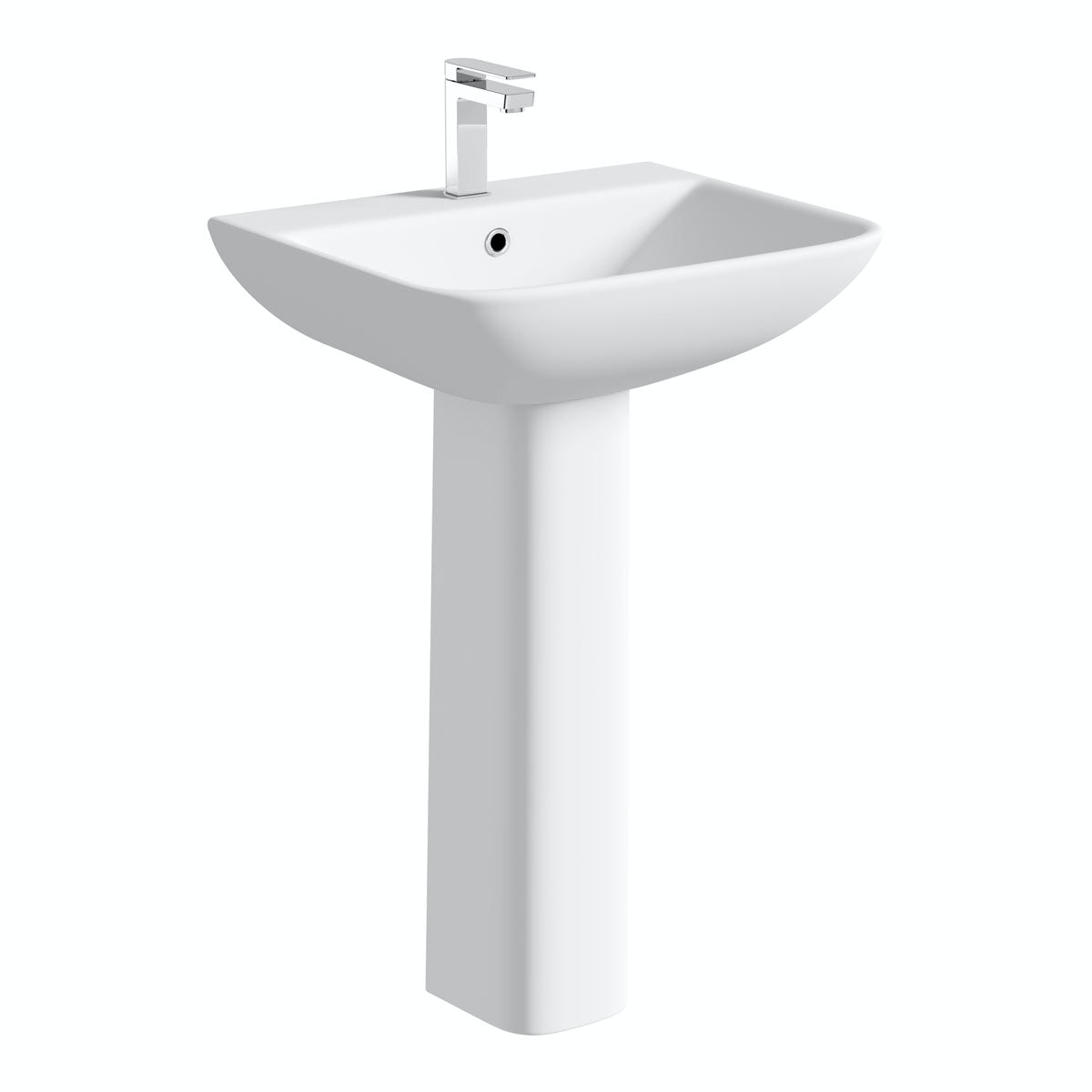 Orchard Derwent square 1 tap hole full pedestal basin 550mm with waste