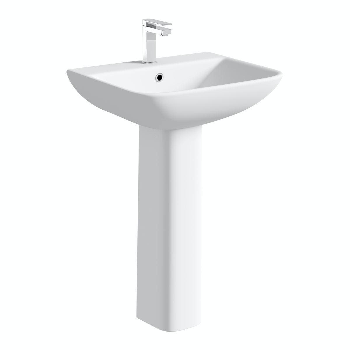 Orchard Derwent square 1 tap hole full pedestal basin 550mm