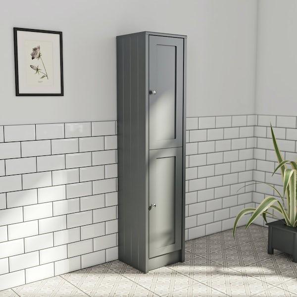 The Bath Co. Dulwich stone grey tall storage unit