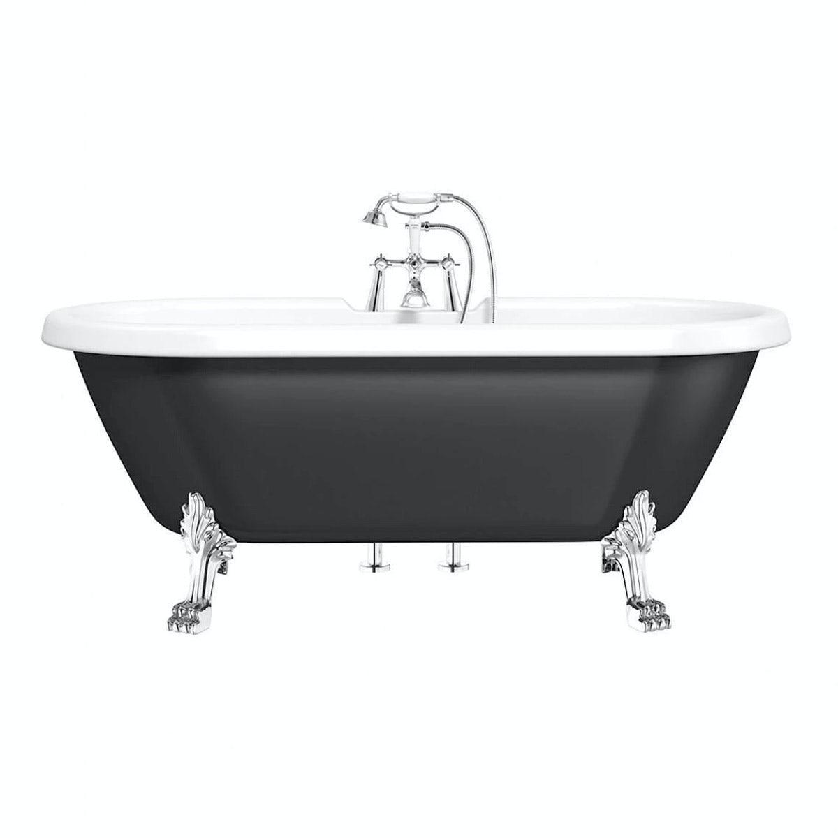 Shakespeare Black Roll Top Bath with Dragon Feet
