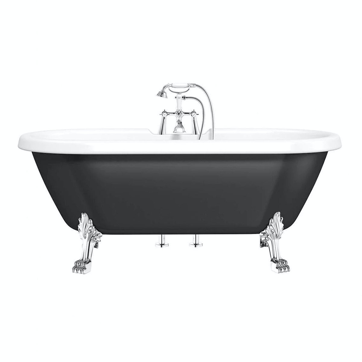 The Bath Co. Dulwich traditional roll top bath with dragon feet black