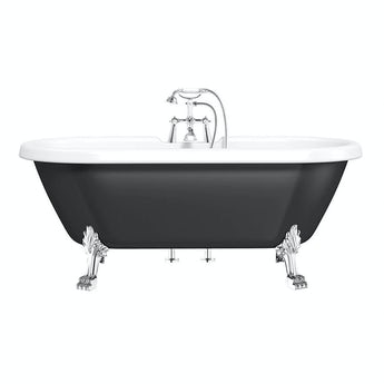 The Bath Co. Shakespeare traditional roll top bath with dragon feet black 1700mm offer pack