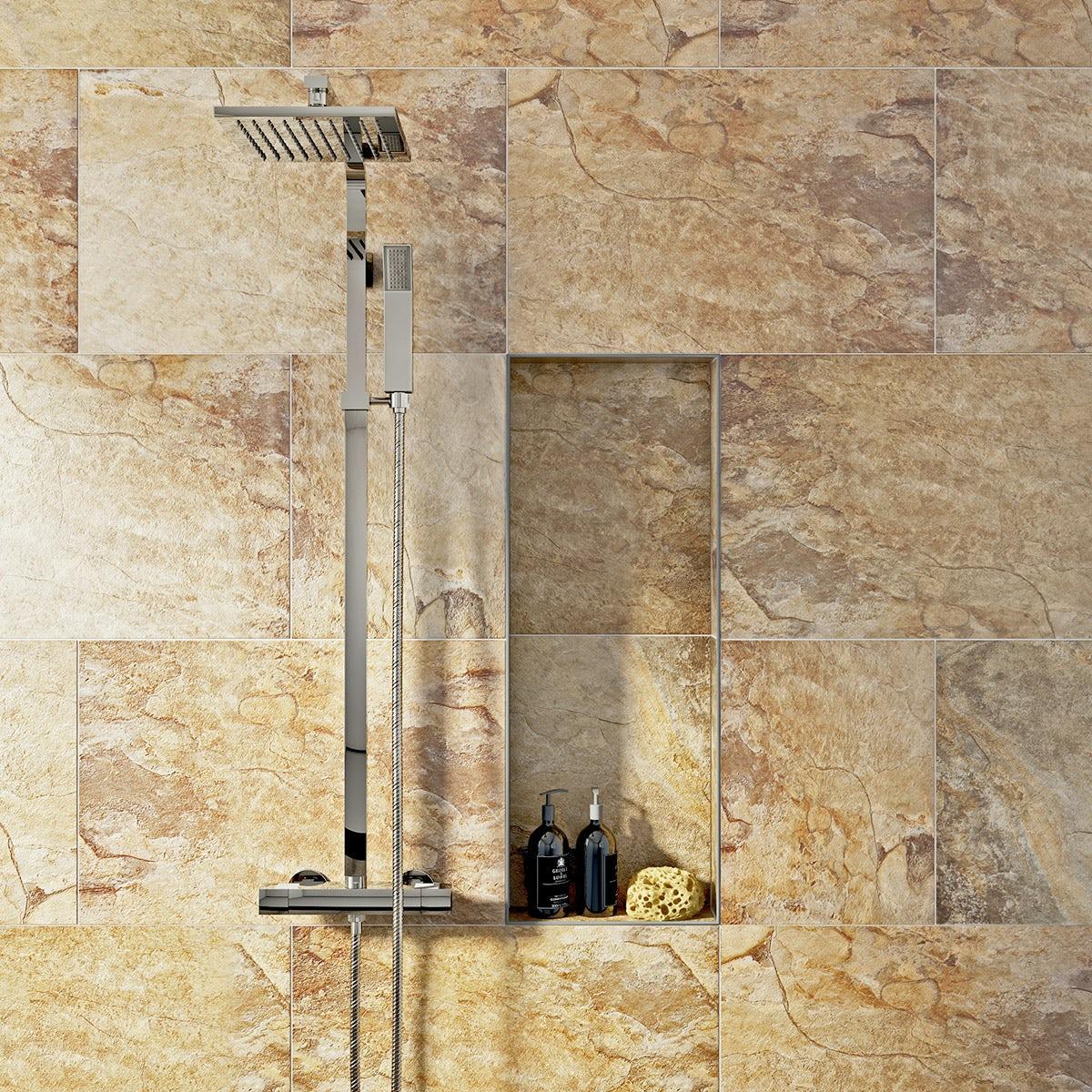British Ceramic Tile Rocky terracotta beige matt tile 400mm x 600mm