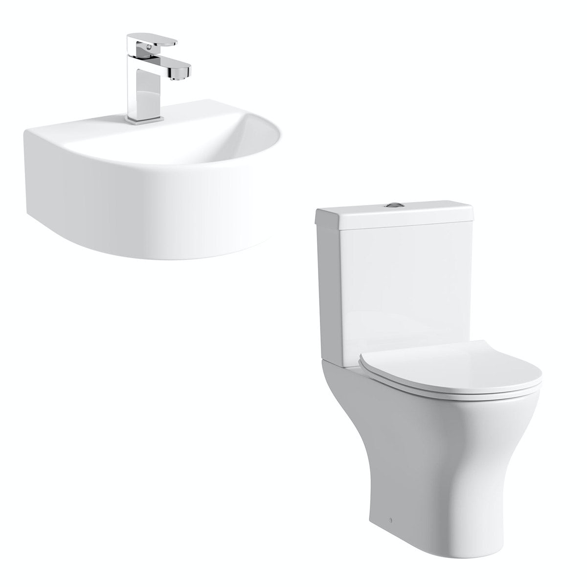 Compact Round close coupled toilet and Pichola wall hung basin set