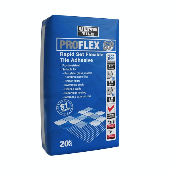 Ultra Tile Pro Flex rapid set flexible wall and floor tile adhesive grey 20kg