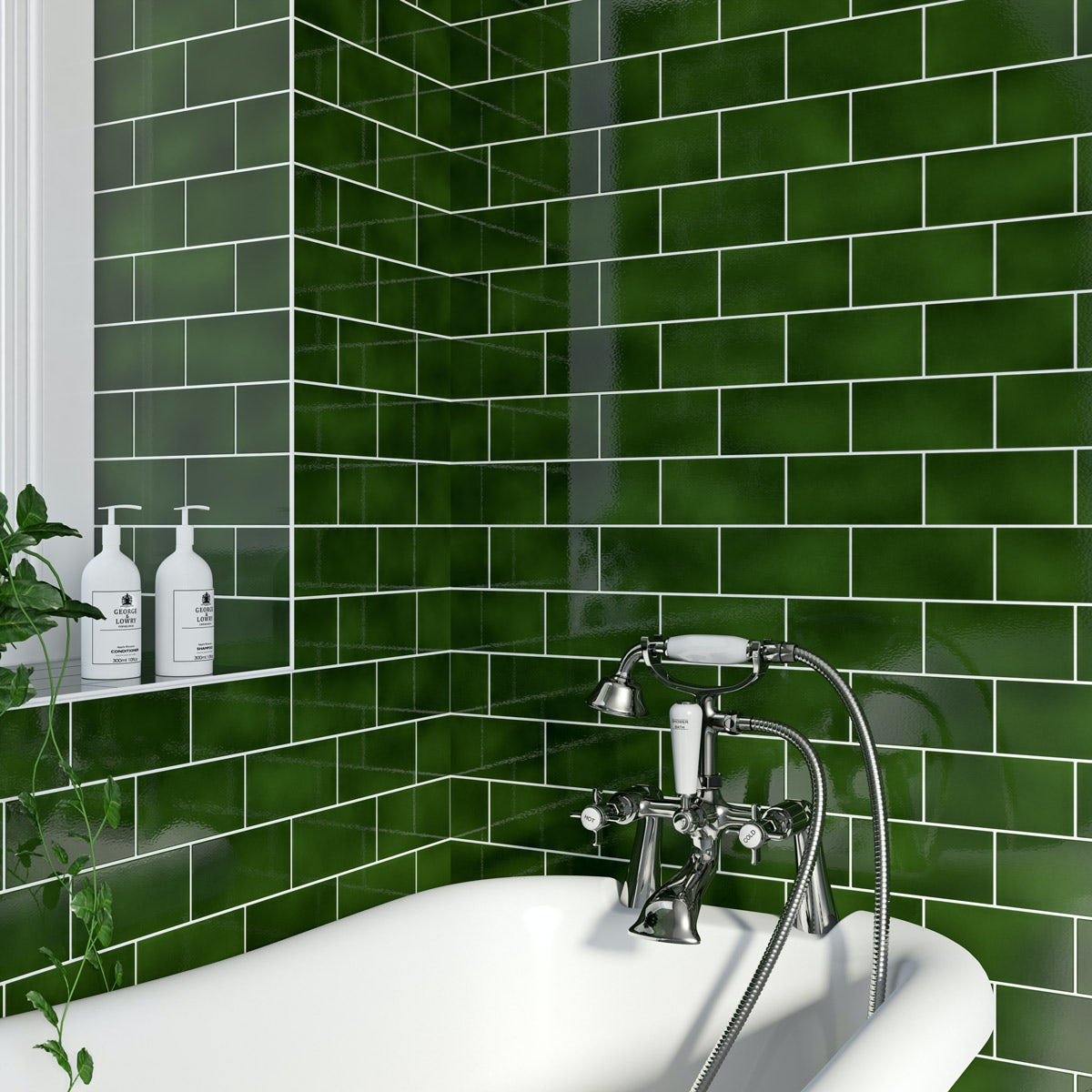 Kitchen With Green Tiles