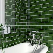 V&A puddle glaze racing green plain field tile 152mm x 76mm