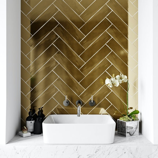 Cheap Ceramic Bathroom Tiles: British Ceramic Tile Metallic Gold Wall Tile 75mm X 300mm
