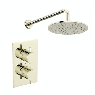 Mode Spencer round gold twin valve shower set
