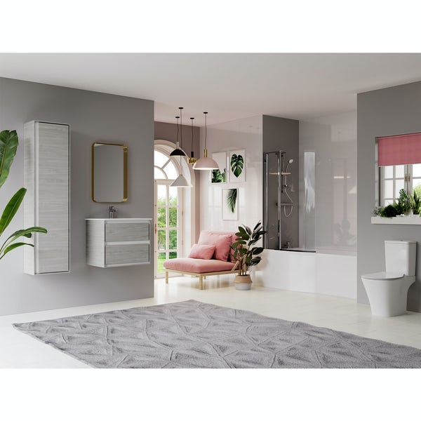 Ideal Standard Concept Air complete left hand wood light grey furniture and shower bath suite 1700 x 800
