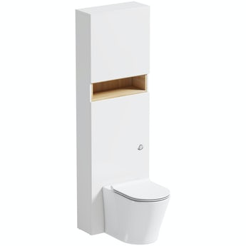 Mode Tate white and oak tall slimline toilet unit and Arte toilet with seat