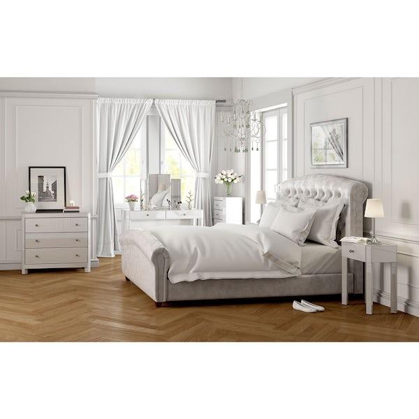 Paris White Glass 3 Drawer Bedside
