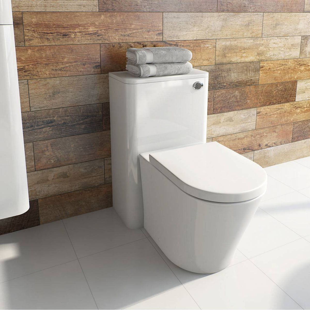 Mode ellis white back to wall toilet unit with for Outside waste pipe