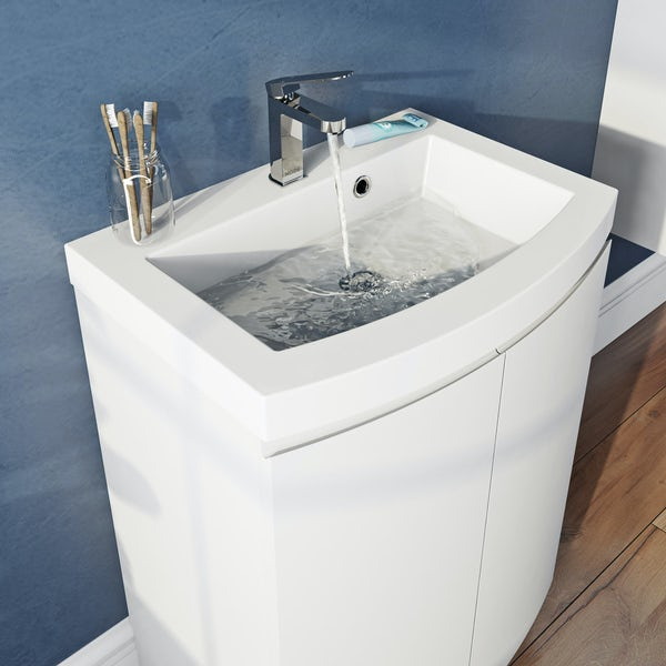 Mode Harrison snow floor standing door unit and basin 600mm with mirror