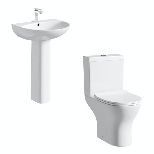 Derwent Round close coupled toilet suite with full pedestal basin 550mm