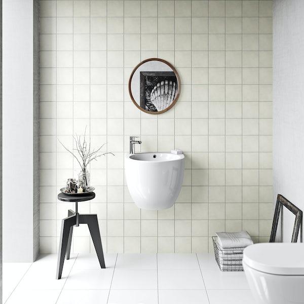 British Ceramic Tile Patchwork plain cream matt tile 142mm x 142mm