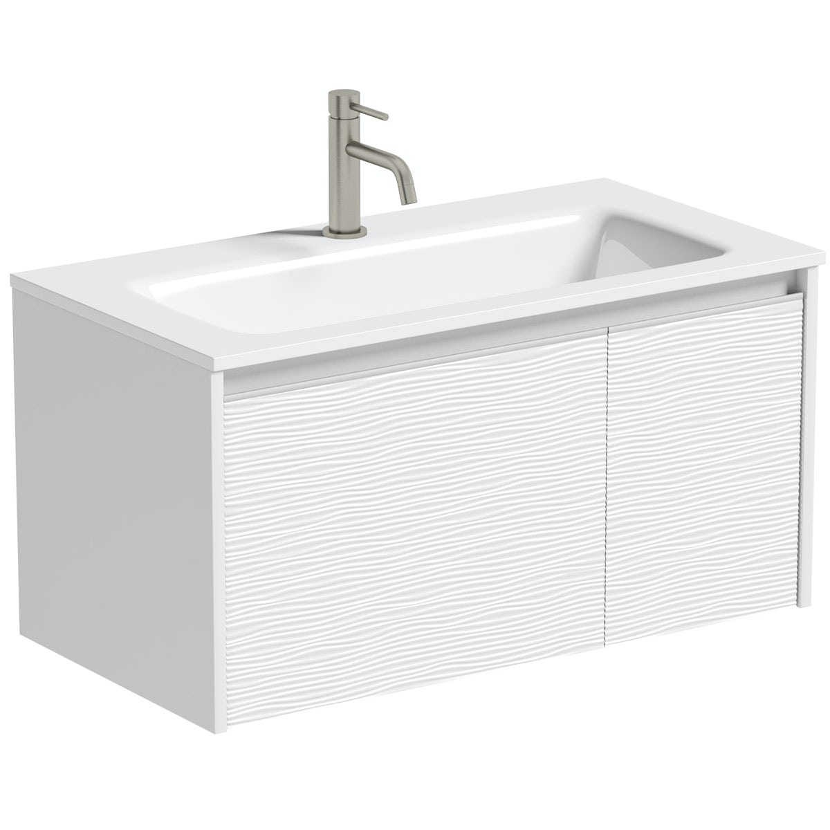 Mode Banks textured matt white wall hung vanity unit 800mm