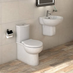Madison close coupled toilet and semi pedestal basin suite 540mm