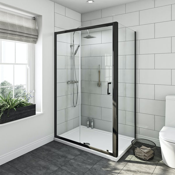 SmarTap white smart shower system with Mode black shower enclosure 1200 x 800