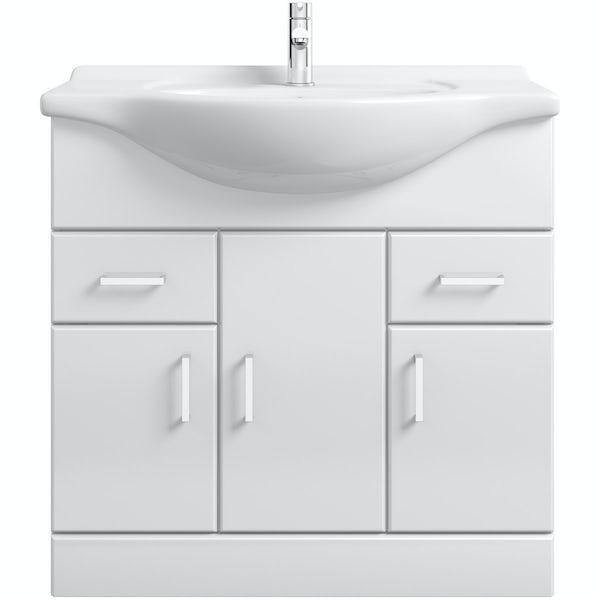 Eden white vanity unit and basin 850mm
