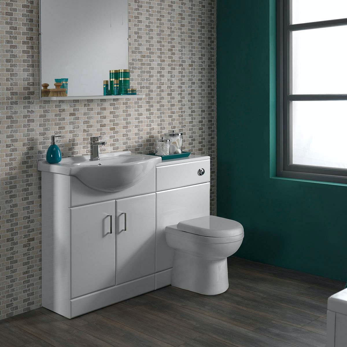 White gloss bathroom unit -  White Gloss Combination Vanity Unit Small Click To Zoom