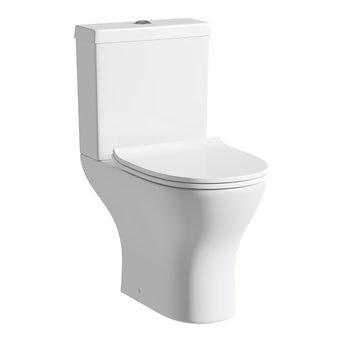 Compact Round Close Coupled Toilet Including Soft Close Seat