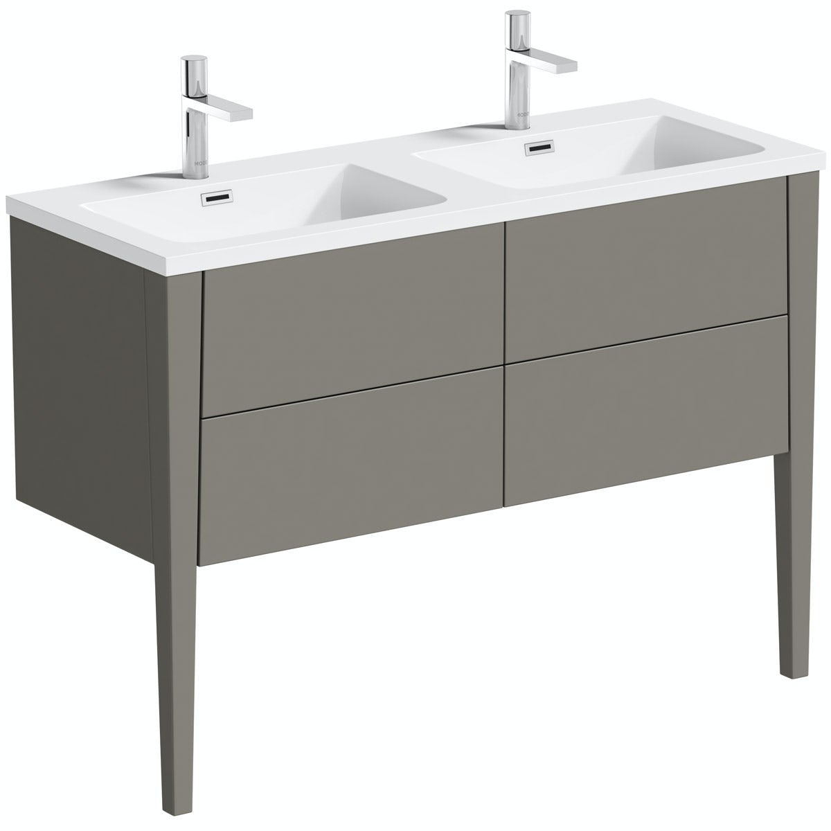 Mode Hale greystone matt double basin vanity unit 1200mm